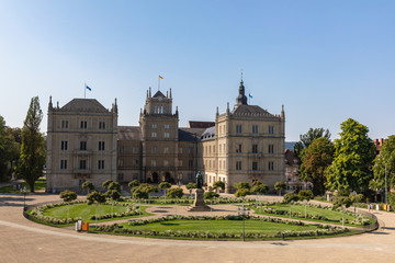 Exterior view of Ehrenburg Palace on a sunny summer day in Coburg, Bavaria, Germany