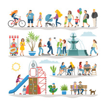 Flat Illustrations Set With Co...