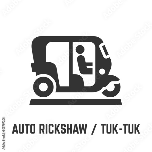 Fotografie, Obraz  Auto rickshaw or tuk-tuk icon with asian motor bike and driver or motorized urban public transport symbol