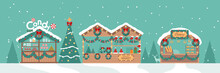 Christmas Market Greeting Card With Candy Shop On Teal Background