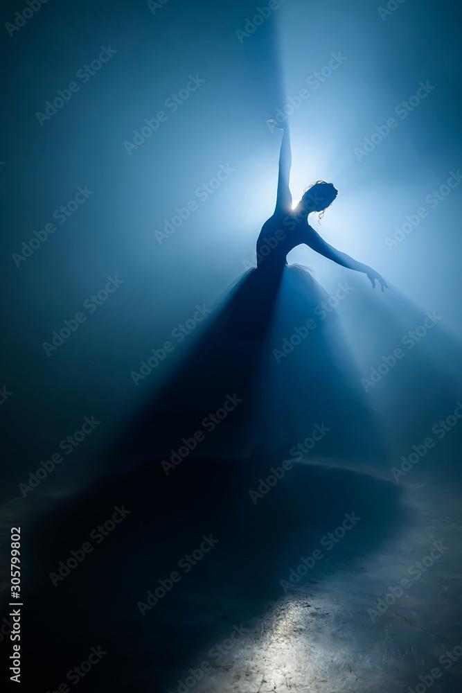 Fototapeta Solo performance by ballerina in tutu against backdrop of luminous spotlight