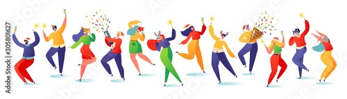 Colorful vector illustration with young happy dancing people Tablou Canvas