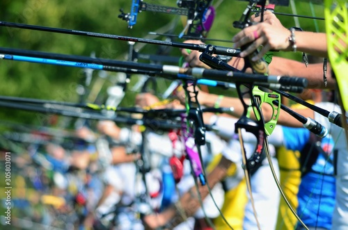 Participants of the archery competitions. Canvas Print