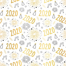 New Year 2020 Celebration Seamless Vector Pattern. Repeating Background New Year Eve Party Background With Champagne Wine Glasses, Fireworks, Party Hats. Gold Foil Effect. Use For Part Invite, Cards