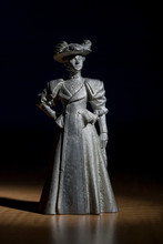 Victorian Lady Standing Wearing Hat This Figure Is Made Of White Metal
