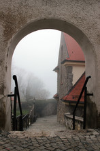 Stairs In The Fog, Germany, Bavaria, Parsberg