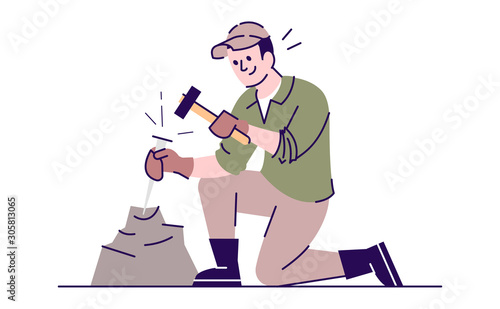 Photo Man working with chisel and hammer flat vector illustration