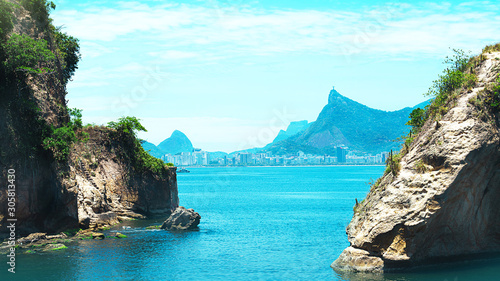 Beautiful view of Rio de Janeiro with Christ Redeemer and Corcovado Mountain Wallpaper Mural