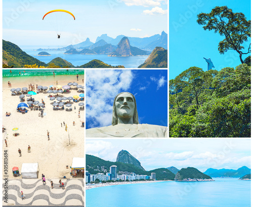 Photo  Creative collage inspired by view of Rio de Janeiro with Christ Redeemer and Corcovado Mountain, Copacabana beach