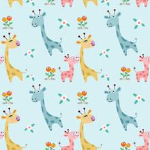 Cute Cartoon Giraffe Family In Flowers Garden Seamless Pattern.