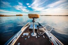Fishing Boat And Fisherman On River At Dawn