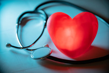 Red Heart With Stethoscope On ...