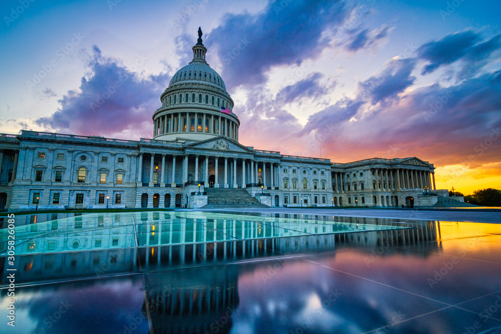 Fototapeta Dramatic sunset over the US capitol in Washington DC