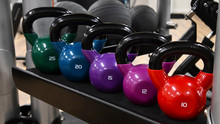 Colorful Kettle Bells In Gym