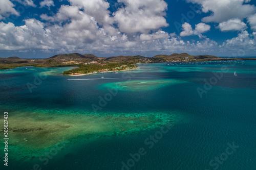 Vue aérienne de la baie du Marin, en Martinique Canvas Print