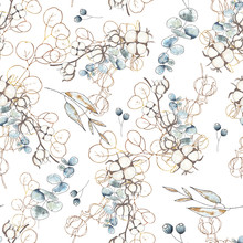 Watercolor Floral Winter Seamless Pattern With Flowers, Cotton, Blue Branches, Brown Twigs, Gold And Black Floral Silhouettes Of Cotton, For Wedding Invitation, Card Making