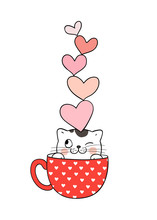 Draw Cat In Cup Of Tea And Heart On Head.