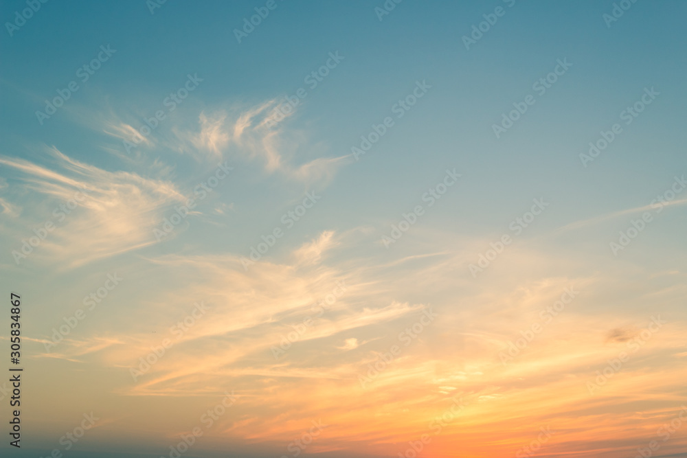 Fototapety, obrazy: sky with clouds on sunset sky in the evening