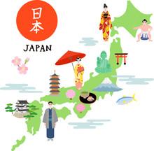 日本地図 イラストマ...