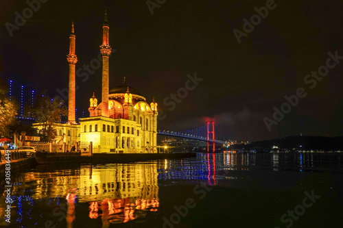 Leinwand Poster Istanbul, Turkey The Ortakoy Mosque under the Bosphorus Bridge, known officially