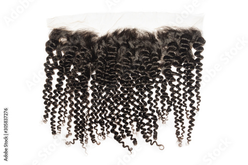 kinky curly black human hair weaves extensions lace frontal closure Canvas Print