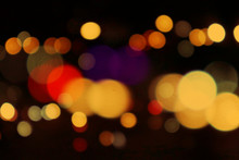 Bokeh Night Ligh Beautiful Bokeh Light On A Black Background With Various Colors, Blurred Of Car In City At Night