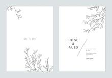 Minimalist Wedding Invitation Card Template Design, Floral Black Line Art Ink Drawing On White