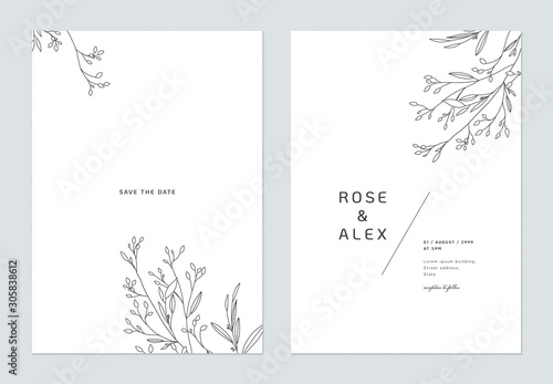 Obraz Minimalist wedding invitation card template design, floral black line art ink drawing on white - fototapety do salonu