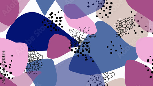 Seamless pattern, hand drawn wild flowers and abstract shapes, pink and blue tones