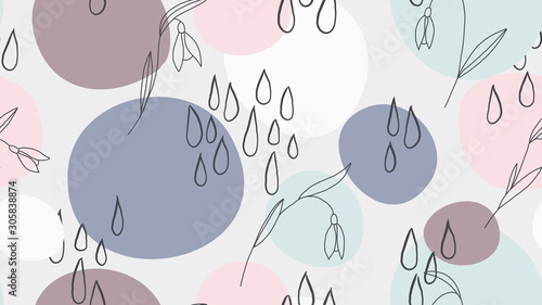 Seamless pattern, hand drawn wild flowers and abstract shapes, blue and brown tones
