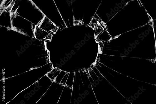 Obraz Broken glass craked on black background ,hi resolution photo art abstract texture object design - fototapety do salonu