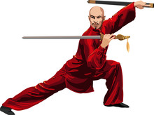 Kung Fu, Wushu With Sword Pose Graphic Vector.
