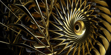 3d Render Of Abstract Aircraft Turbine Engine With Sharp Blades In Gold And Black Matte Material