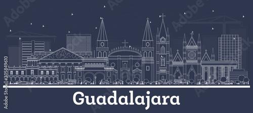 Outline Guadalajara Mexico City Skyline with White Buildings.