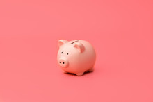 Pink Piggy Bank Stands In The Center On A Pink Background. Horizontal Photography