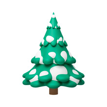 Pine Tree In Minimal Style Isolated On Pure White Background With Snow Festive Concept. Decoration Trees Of Merry Christmas. 3D Rendering. ( Clipping Path )