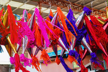 Mexican Piñatas For Christmas In A Traditional Market In Mexico