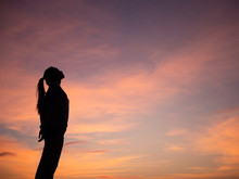 Silhouette Of Young Woman Free...