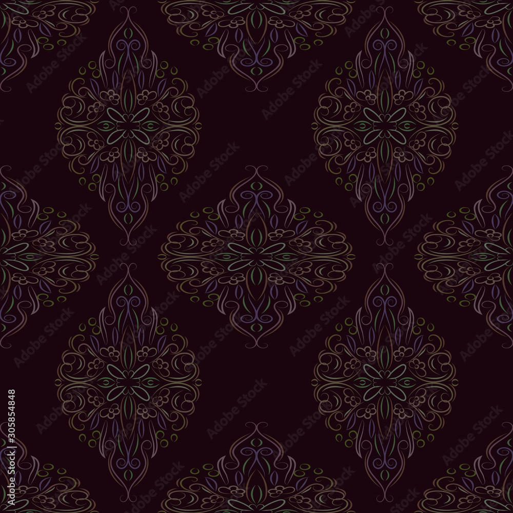 Ornate vintage seamless damask background. Floral baroque ornament in Victorian style. Pattern design, decorative retro decor, vector illustration