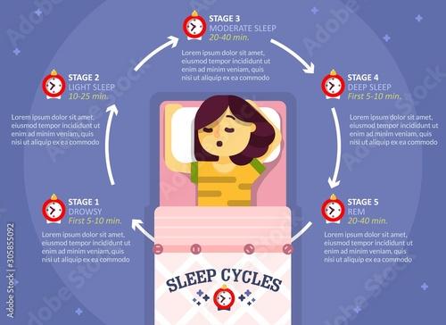 Sleep cycle infographics, vector education diagram, poster Wallpaper Mural