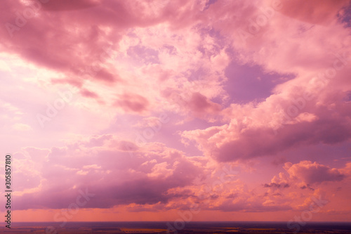 Fond de hotte en verre imprimé Rose banbon Colorful cloudy sky at sunset Sky texture, abstract nature background