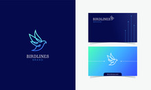 Dove Bird Line Logomark Vector With Business Card Template Design For Branding Identity