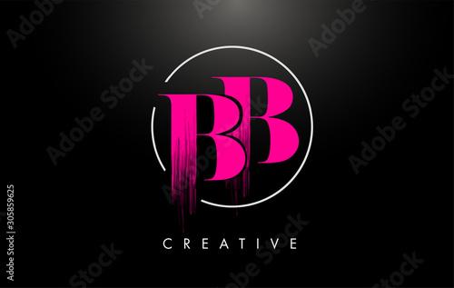 Pink BB Brush Stroke Letter Logo Design Canvas Print