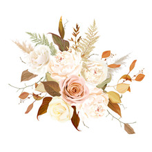 Moody Boho Chic Wedding Vector Bouquet.