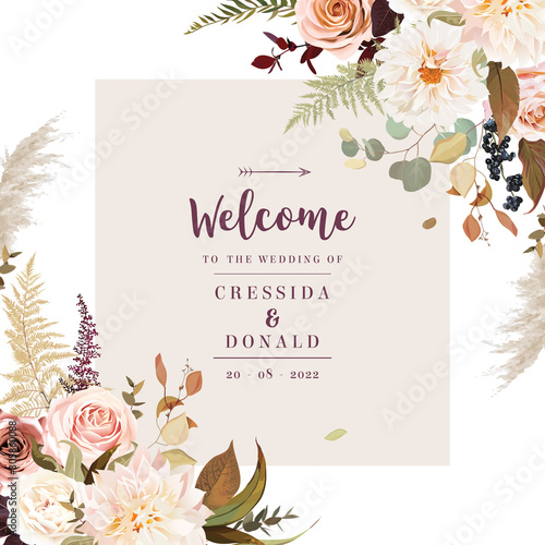 Moody boho chic wedding vector design frame. Canvas Print
