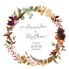 Fall Herbs Selection Vector Design Round Invitation Frame.