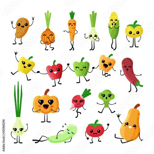 Cute vegetables kawaii flat characters vector set