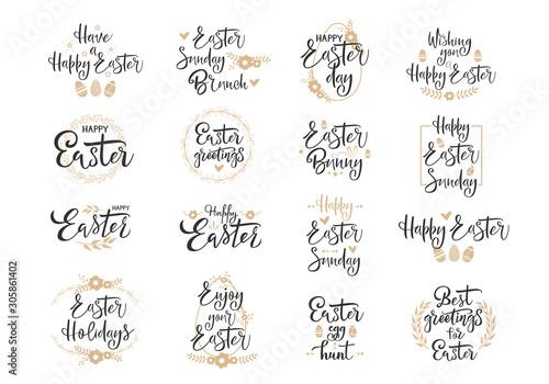 Photo Happy Easter black handwritten calligraphy vector set