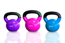 Colorful Kettlebells In A Row On White Background , Purple , Pink And Cyan Color