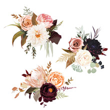 Moody Boho Chic Wedding Vector Bouquets